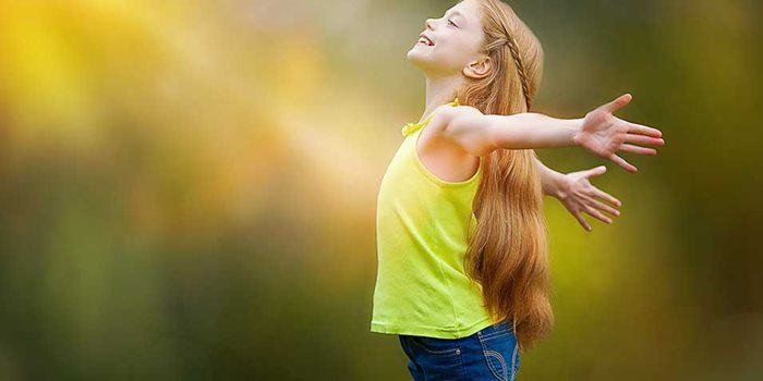 Religious freedom - girl happy to freely worship God image
