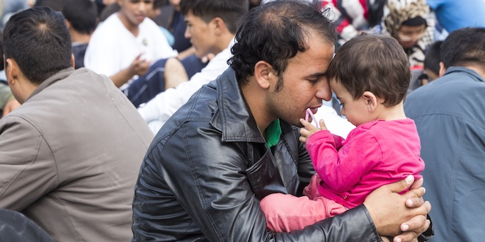Refugees - father and daughter image